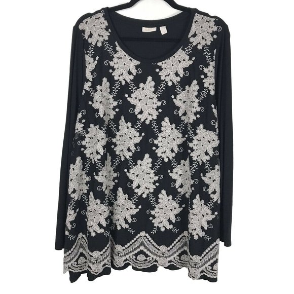 LOGO Lavish Black Floral Tunic Top XL